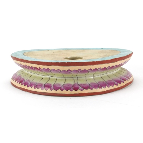 407 - Chinese hand painted porcelain lotus stand, 5.5cm H x 23cm W...