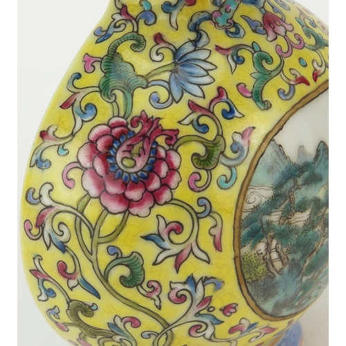418 - Chinese porcelain yellow ground double gourd wall vase, hand painted in the famille rose palette wit...