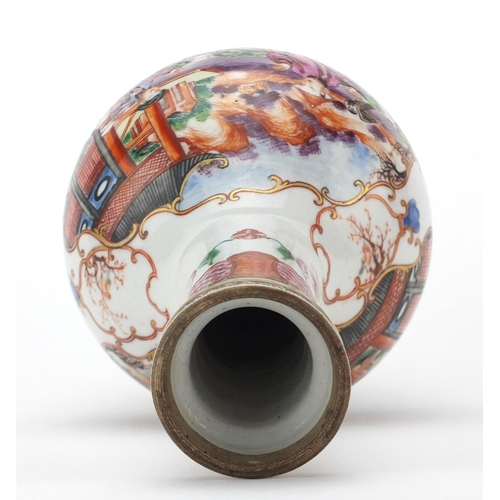 430 - Chinese porcelain bottle vase, finely hand painted in the Mandarin palette with figures in a palace ...