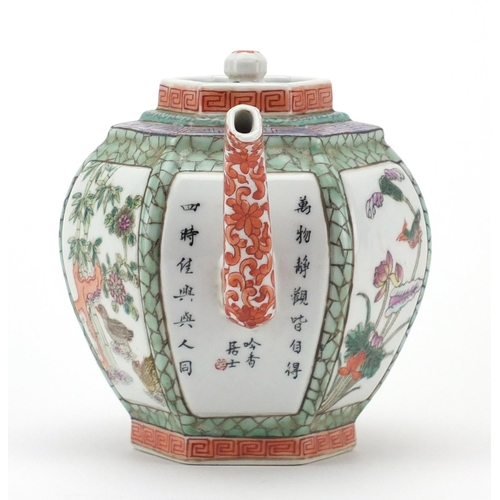 392 - Chinese porcelain hexagonal teapot, hand painted in the famille rose palette with panels of figures,...