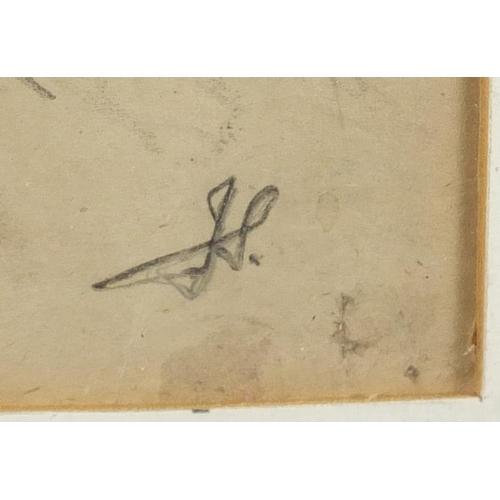 1189 - Manner of John Singer Sargent - Nude female, pencil sketch on paper with monogram JS, stamped London...