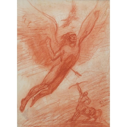 1199 - Centaur and Angel, Sanguine chalk drawing, bearing an indistinct signature possibly Guun, mounted an...