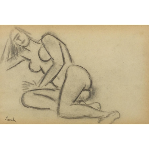 1158 - Attributed to Constant Permeke - Reclining nude female, charcoal, mounted and framed, 30cm x 20cm (P...
