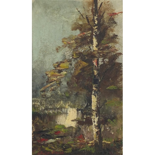 1188 - Jan Adam Zandleven - Woodland, oil, label verso, mounted and framed, 18.5cm x 13cm (PROVENANCE: Ex p...