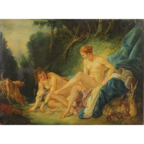 1178 - After Francois Boucher - Diana Getting Out of the Bath, 19th century oil on canvas, unframed, 73cm x...