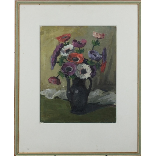 1179 - Manner of Vanessa Bell - Still life flowers in a coffee pot, oil, mounted and framed, 48cm x 37cm...