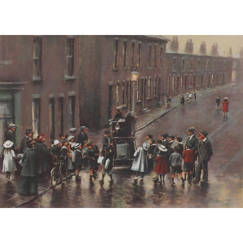 1187 - Marc Grimshaw - Edwardian street scene, pastel, mounted and framed, 53cm x 37.5cm...