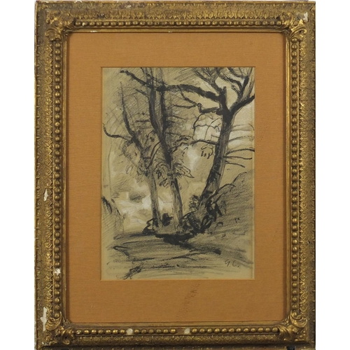 1208 - Study of trees, 19th century French school charcoal, bearing a monogram GC and inscription verso,  m...