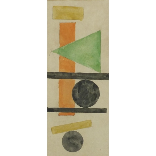 1193 - Abstract composition, geometric shapes, Russian school, pencil and watercolour, bearing Cyrillic scr...