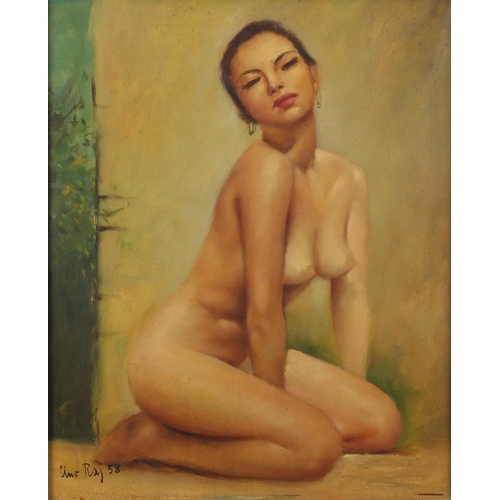 1183 - Portrait of a nude Oriental female, oil on canvas, bearing an indistinct signature possibly Ume Raj,...