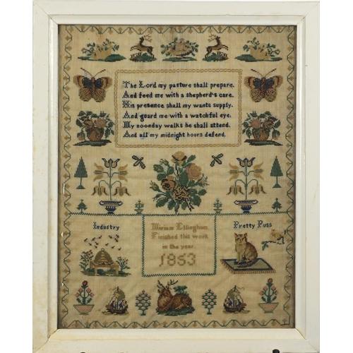 52 - Mid 19th century needlework sampler by Miriam Ellingham, depicting butterflies, flowers and animals,...