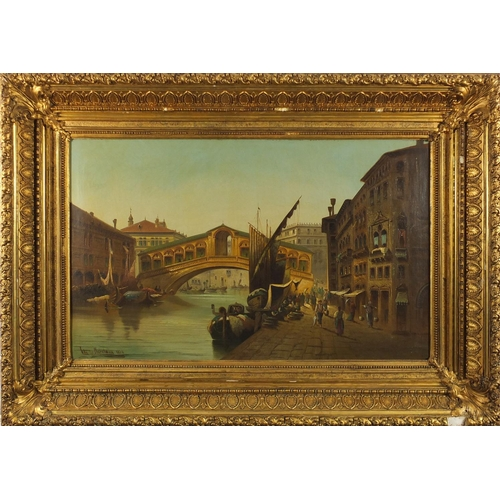1176 - Charles Marchand 1880 - Rialto Bridge with figures and gondolas, Venice, 19th century oil on canvas,...