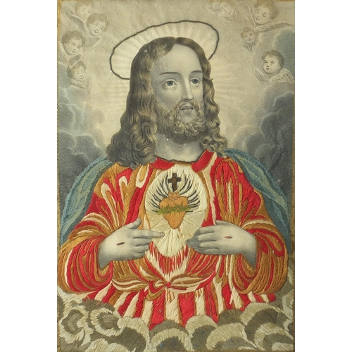 10 - Near pair of 19th century silk embroidered panels of Christ and Madonna, together with an antique br...