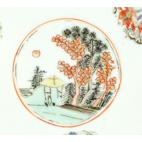 390 - Pair of Chinese porcelain plates, each hand painted with a central roundel enclosing a landscape wit...