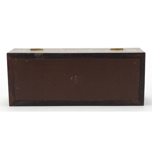 40 - Victorian Tunbridge Ware glove box, the hinged lid having micro mosaic floral inlay, 7cm H x 24.5cm ...