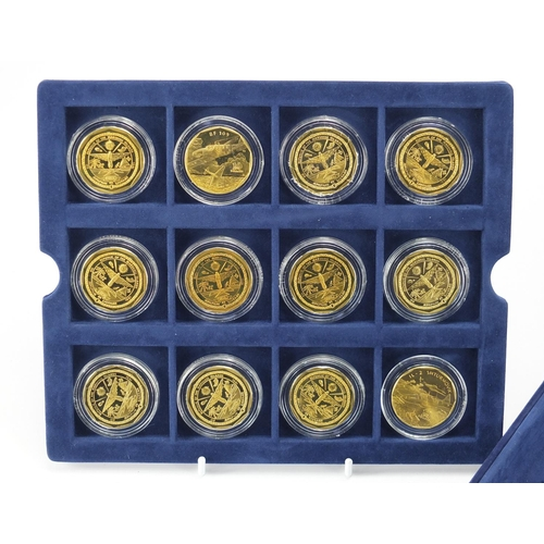 2803 - Legendary Aircraft of World War II ten dollar coin collection, housed in a fitted case...