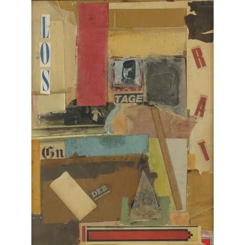 1185 - Abstract composition, mixed media and collage, bearing an indistinct inscription to the lower left, ...
