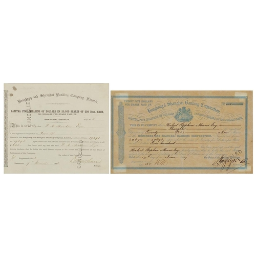 279 - Two 19th century Hong Kong and Shanghai Banking Corporation share certificates, one dated 9th March ...