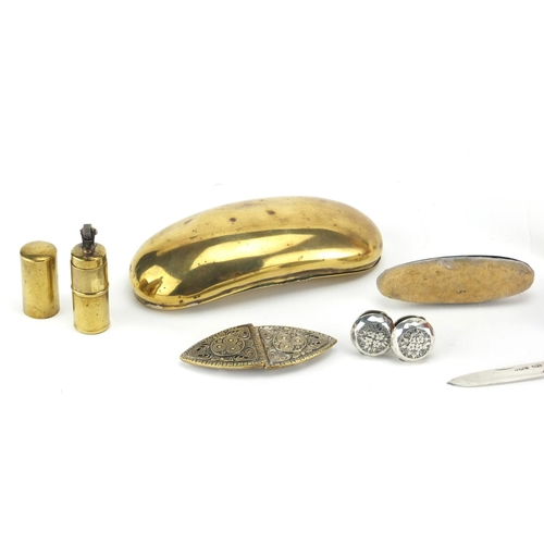 60 - Antique and later objects including a pair of embossed silver buttons, brass snuff box, German two p...