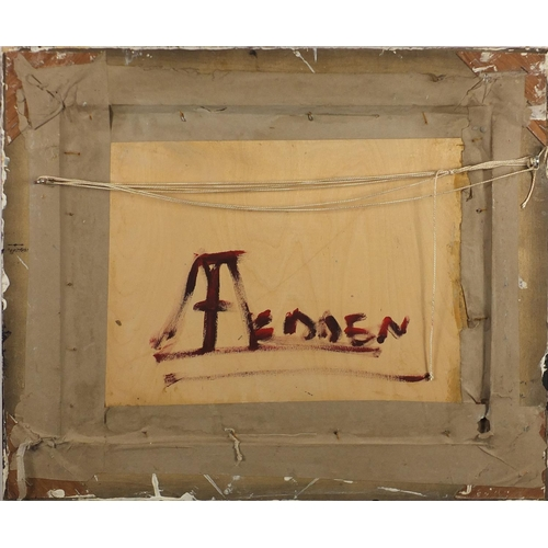 36 - After Mary Fedden - Still life, oil on board, inscribed verso, framed, 49.5cm x 39.5cm...
