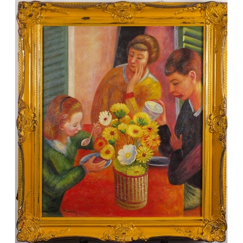 35 - Family seated around a table, oil on canvas laid on board, bearing an indistinct signature possibly ...