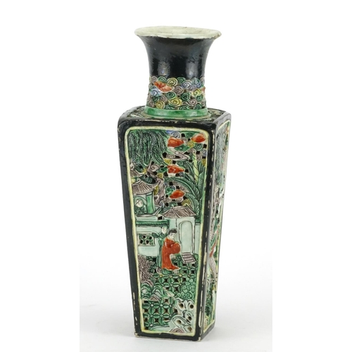 425 - Chinese porcelain famille verte vase with square tapering body, pierced and decorated in relief with...