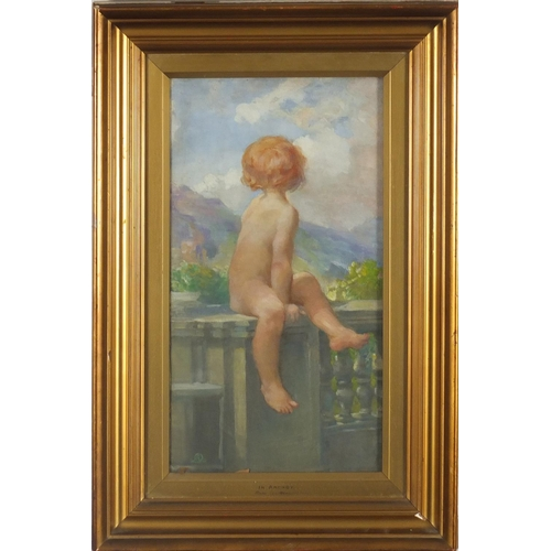 1180 - Manner of Anna Lea Merritt - In Arcady, oil on canvas, inscribed label verso, mounted and framed, 39...