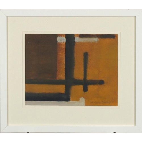 1165 - Abstract composition, oil on paper, bearing a signature W Barns Graham, mounted and framed, 27cm x 2...