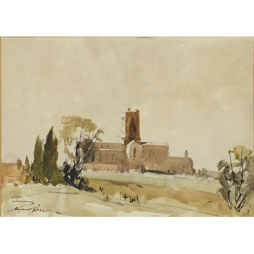 1170 - Edward Wesson - Guildford Cathedral, ink and watercolour, mounted and framed, 35cm x 25cm...