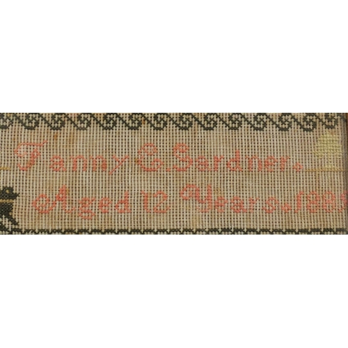53 - 19th century needlework sampler by Fanny E Gardner aged 12 years 1889, mounted and housed in a birds...