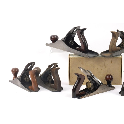 184 - Seven vintage wood working planes including two GTL No.4's, a Sedgley No.S4, Sargent and Footprint N...
