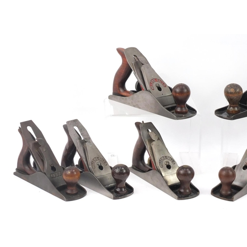 185 - Eight vintage wood working planes including four Millers Falls and Keen No.4½...