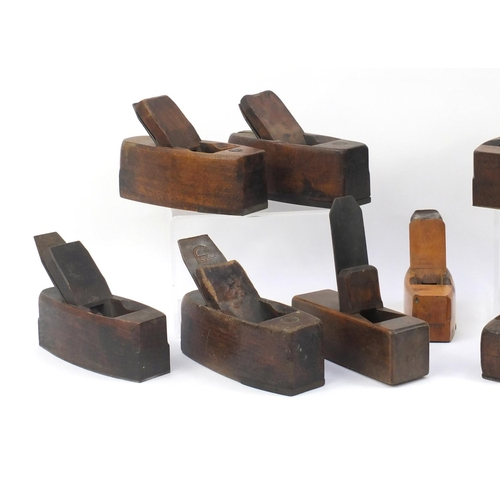 192 - Eleven vintage boxwood wood working  planes including Goddard, Cecil Pike, G Wreford and Mathieson &...