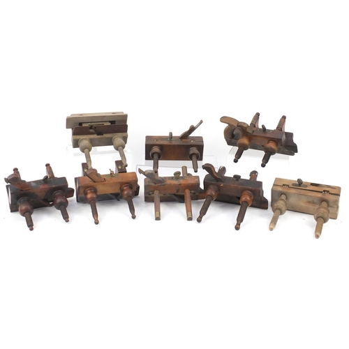 196 - Eight wood working plough planes, some named including A.Wright, A. Mathieson, Emir and Carr & Co...