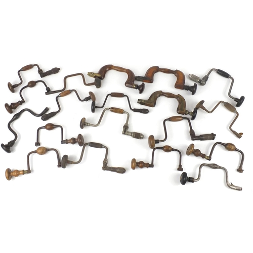 204 - Nineteen 19th century Brace drills, some boxwood including Millers, Rapier and Sheffield?...