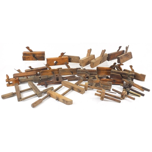 203 - Collection of vintage boxwood wood working planes, mortise gauges including rosewood and ebony and b...