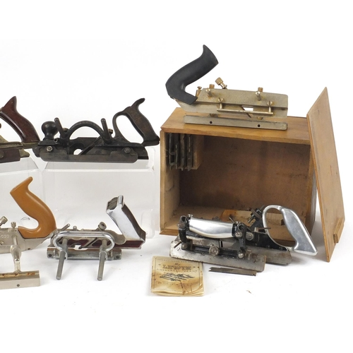 175 - Eight vintage wood working Plough planes including two Lewin, two Stanley, Mitor and Sargent...