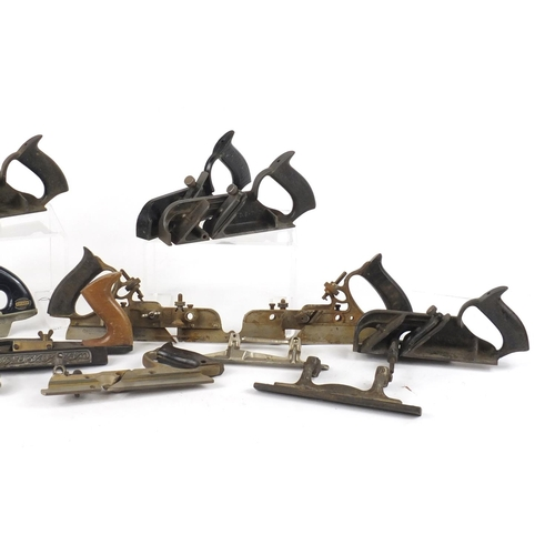 177 - Thirteen vintage wood working Plough planes including Stanley and Record...
