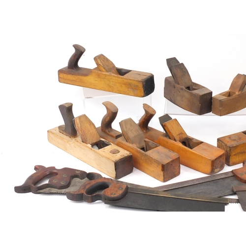 191 - Vintage wood working block planes and saws, including Blythe, Cosby and H Disston...