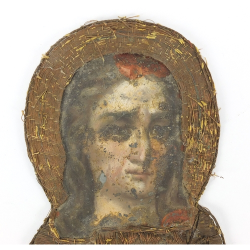 9 - Antique Russian hand painted needlework icon of Madonna, 24cm x 15cm...