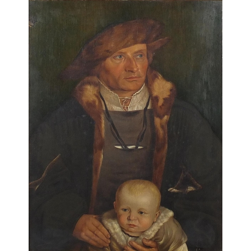 1154 - Attributed to Ford Madox Brown - Gentleman in Tudor dress holding a child, 19th century oil on panel...