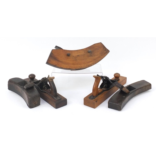 195 - Five 19th century wood working planes including three curved planes, the largest 40cm in length...
