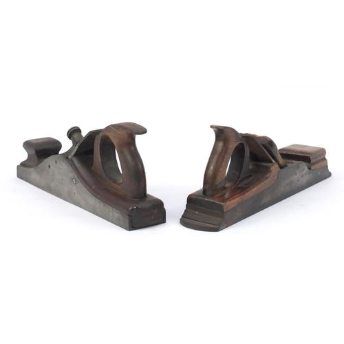 161 - Two 19th century beech wood working planes, 39cm in length...