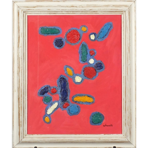1168 - Manner of Whanki Kim - Abstract composition, Korean school oil and collage on card, framed, 40.5cm x...
