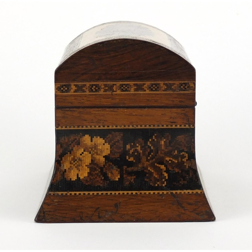 38 - Victorian Tunbridge Ware tea caddy of out swept form, the domed lid and body with micro mosaic flora...