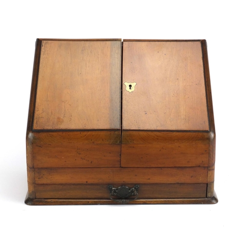 37 - Victorian mahogany slope front stationery box, with fitted interior and base drawer, 31cm H x 40cm W...