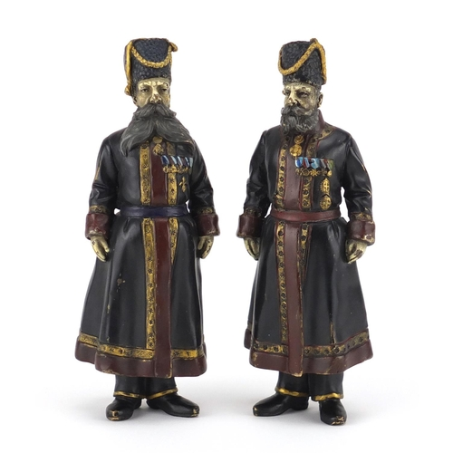 6 - Pair of Russian cold painted bronze figures impressed Fabergé, modelled as AA Kudinov and NN Pustynn...