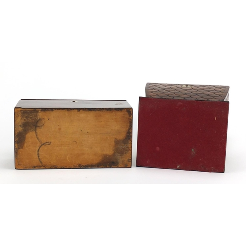 35 - Two 19th century tea caddy's including a mahogany example with shell inlay carved with fish scales, ...