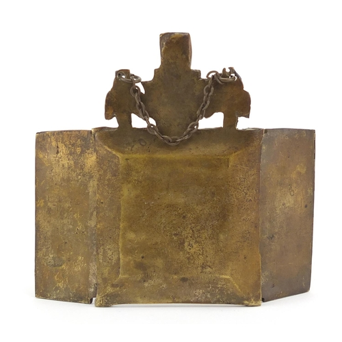 7 - Russian brass enamelled triptych folding icon, 10cm x 11.5cm (when open)...