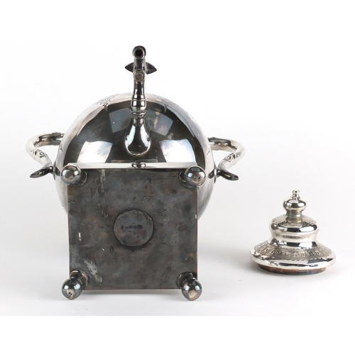 22 - Silver plated samovar with twin handles on ball feet, 38.5cm high...